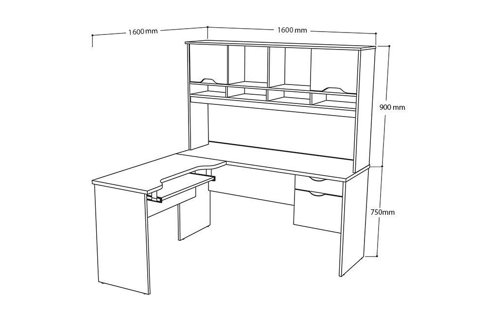 kích thước bàn làm việc chữ L kết hợp kệ sách