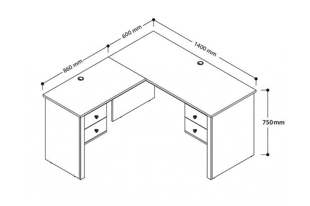 kích thước bàn làm việc chữ L đơn giản
