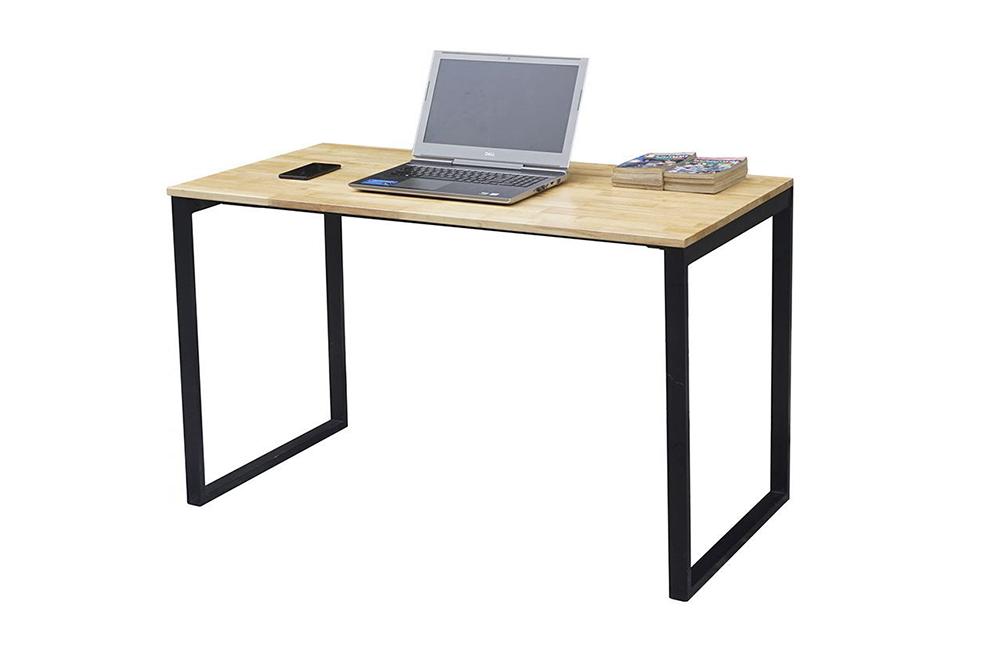 bàn làm việc chân sắt mặt gỗ cao su