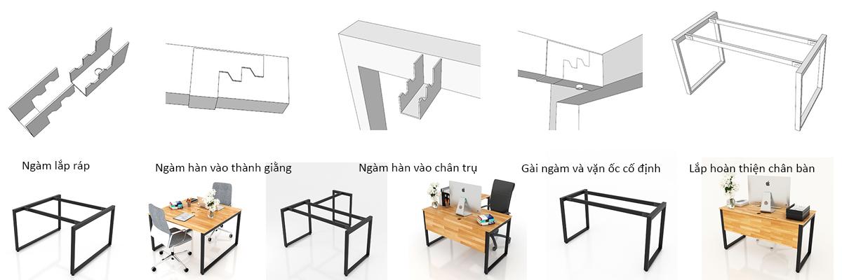 Cơ cấu lắp ráp chân bàn
