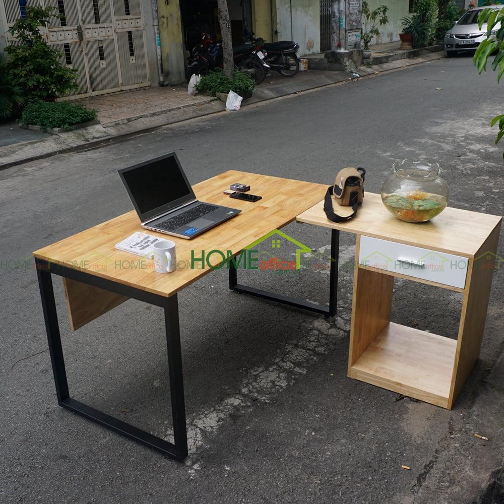 bàn làm việc gỗ cao su chân gác tủ\