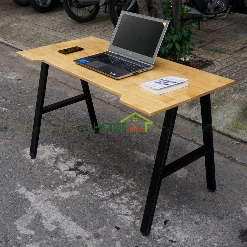 bàn làm việc gỗ cao su chân sắt hộp