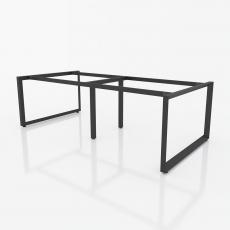 NVTG014 - Chân bàn nhân viên 2400x1200 sắt tam giác quỳ lắp ráp ngàm