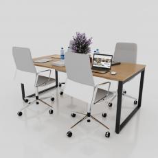 BHVP003 - Bàn họp văn phòng 2000x1000mm gỗ MFC chân sắt 25x50 lắp ráp