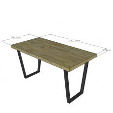 Chân sắt hình thang bàn gỗ tự nhiên cao 70cm