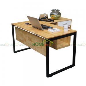 bàn làm việc gỗ cao su chân gác tủ