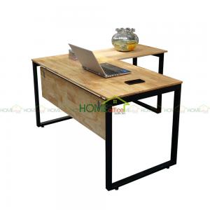 bàn gỗ cao su góc chữ L