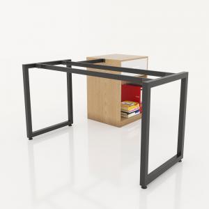 GDCV012 - Chân bàn giám đốc gắn tủ 1400x600 sắt vuông quỳ 40x40 lắp ráp