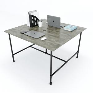 HBON006 - Bàn làm việc cụm 2 người 120x120 hệ Pipe Concept lắp ráp