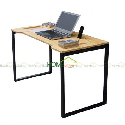bàn làm việc gỗ cao su chân sắt