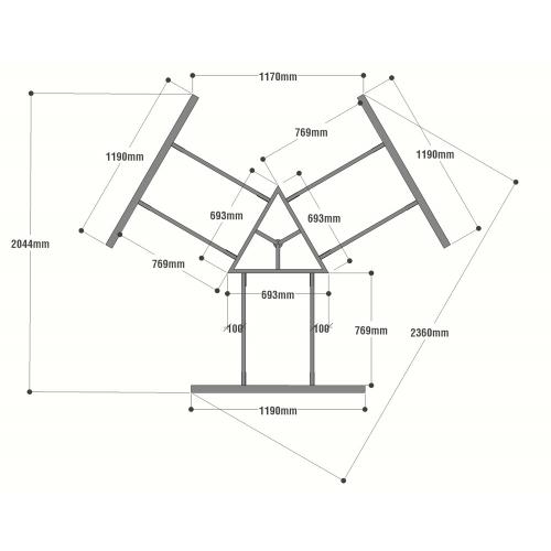 HCMC023 - Chân bàn cụm 3 236x205mm hệ MConcept lắp ráp