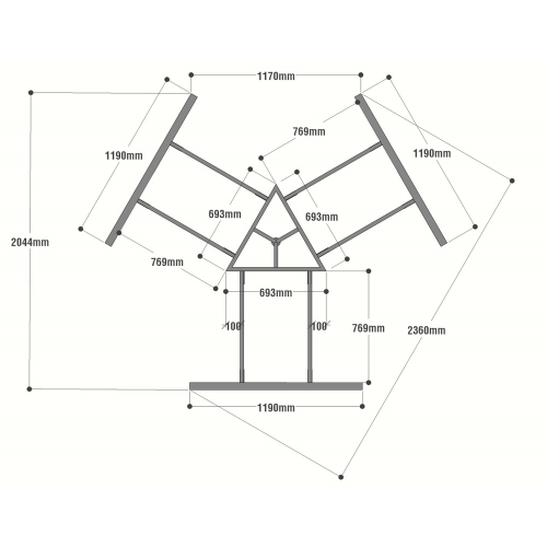 HCRT023 - Chân bàn cụm 3 236x205mm hệ Rectang Concept lắp ráp