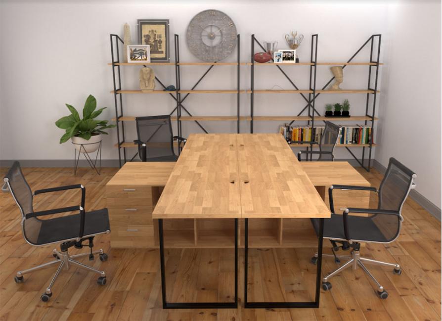 bàn gỗ cao su chân sắt