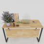 bàn làm việc gỗ cao su góc chữ L